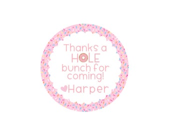 Donut Birthday Thank you Stickers, Thanks A HOLE Bunch Thank You Stickers, Donut Birthday Decorations, Personalized Donut Sticker