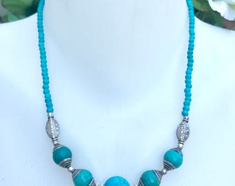 Turquoise necklace, Coin turquoise necklace,  Beaded necklace, Blue necklace