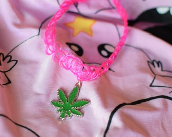 Pot leaf hot pink tattoo choker - weed leaf