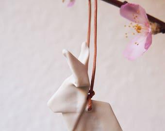 origami rabbit ornament of porcelain