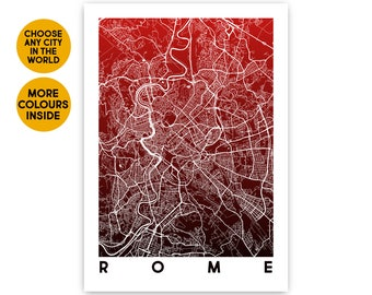 Rome map wall art Custom map poster Travel gift Rome city map art print 1st Anniversary gift for Boyfriend gift for Girlfriend Gift for him