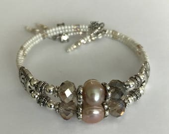 Pearl Bracelets, crystal bracelet, silver jewelry, Handmade jewelry, beaded bracelets, Boho style bracelets, stocking stuffers, bracelets
