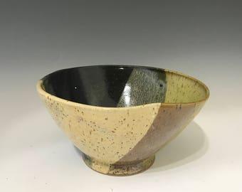 Medium Earth Tone Glazed Salad Bowl or Pasta Bowl - Pottery Bowl - Handmade Salad Bowl - Stoneware Salad Bowl