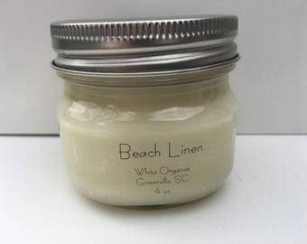 Beach Linen, 100% All Natural Soybean Candle, 4 oz., Eco Friendly, Clean Burning, No Color or Dyes, MADE IN USA