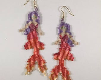 Beaded Fancy Mermaid Earrings, Red, Orange, Gold Mermaid Jewelry, Betta Tail Mermaid Earrings, Off Loom Style Sea Life Earrings Gift for Her