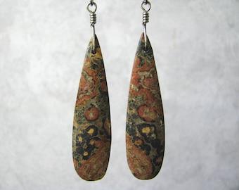 Long, Teardrop, Leopardskin Jasper (Jaguar Stone) Stone Slab, Titanium Wire Wrapped Earrings, Stainless Steel Leverback Ear Wire