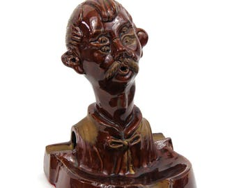 Whimsical Ceramic Smoking Drunk Man Ashtray