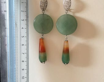Aventurine earrings and striped agate