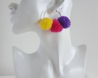 Pom Pom Hoop Earrings Multocolor Hoop Earrings PomPom Earrings