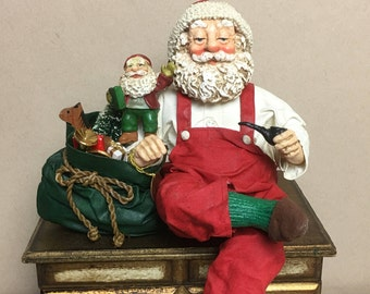 1990 Clothique by Possible Dreams Santa Shelf Sitter with Pipe and Bag of Toys # 713089 - Christmas, Holiday Decor