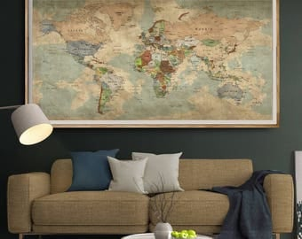 Antique World Map Push Pin Wall Art, Vintage Travel Map of World, Extra Large Old World Map Poster Art Home decor, Push pin map (L129)
