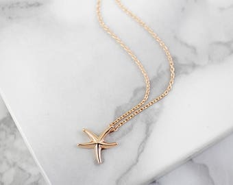 Tiny Rose Gold Starfish Charm Necklace, Rose Gold Starfish Necklace, Bridesmaid Gift, Birthday Gift,Layered Necklace,7053