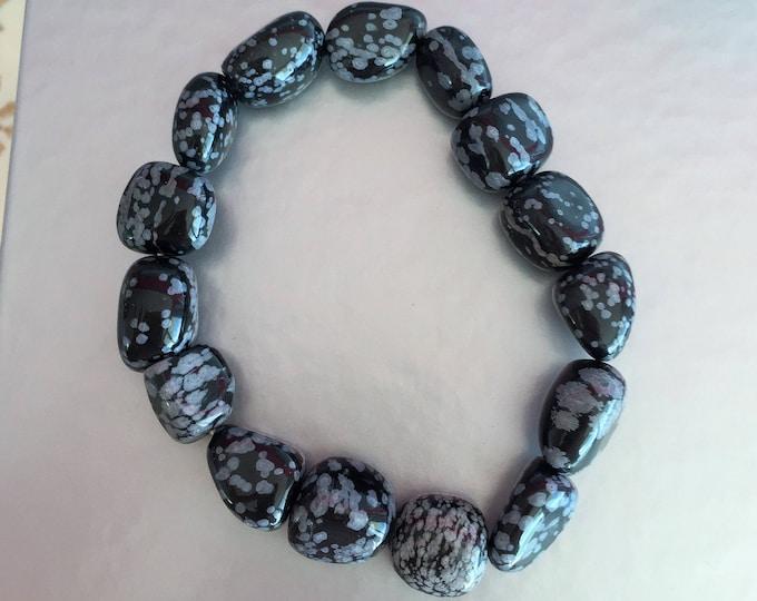 Obsidian Bracelet infused with Reiki / Snowflake Obsidian Healing Bracelet / Healing Crystals and Stones