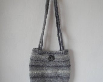 felted wool handbag, gray knit felt purse, wool felt bag, grey ombre purse, small felt handbag, grey stripe bag, classic gray bag, accessory