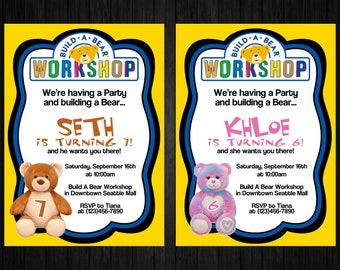 Build A Bear Invitation ONLY, build a bear thank you, build a bear printable, build a bear party, build a bear birthday