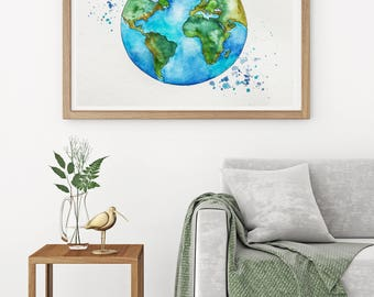 Original Globe World Map Watercolor Painting, Illustration, Travel Illustrator, Modern Wall art, Home Decor, Handmade Holiday Gift 9 x 12