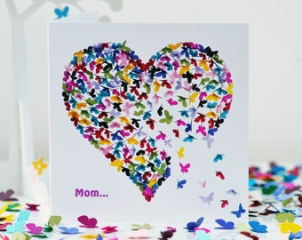 Mom Card , Mom Butterfly Card, Mom Mothers Day Card, Mom Birthday Card, Butterfly Heart Card, Mom's Day Card,, Mom Heart Card
