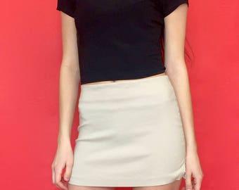 Vintage 90s Y2k 2000s Minimal Beige High Waisted Tube Mini Skirt