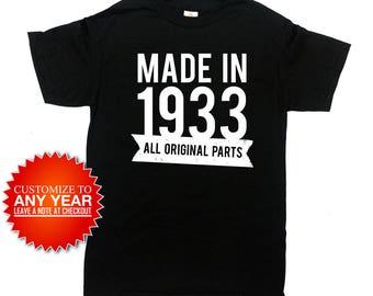 Custom Birthday Shirt 85th Birthday T Shirt Custom Gifts Bday Present Personalized TShirt Made In 1933 Birthday Mens Ladies Tee - SA874