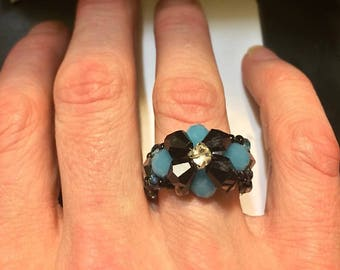 Teal & Black Beaded Ring-Any size or colors available upon request