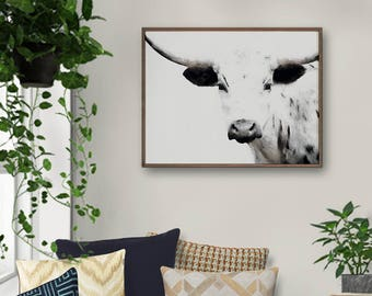 Cow Print, Longhorn Print, Cow Wall Art, Longhorn Art, Farm Animal Print, Nursery Decor, Printable Poster, Instant Download, Large Wall Art