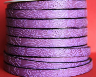 "MADE in EUROPE 24"" flat leather cord, 10mm leather cord, purple embossed leather cord (509/10/24)"