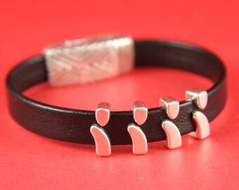 3A/2 MADE IN EUROPE 4 zamak slider bars, flat cord slider, 10mm flat cord sliders, silver bar sliders(78233/10) Qty4