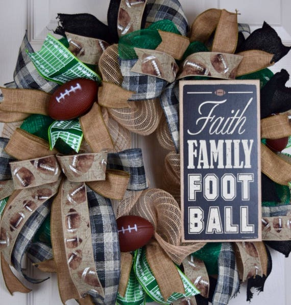Faith Family Football Green Black Burlap and Mesh Wreath; Football Wreath; Fall Wreath; Sports Wreath; Football Decor; Sports Team Decor