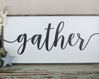 Gather Sign, Large Welcome Sign, Farmhouse Wall Decor, Large Wood Sign, Wood Part 36