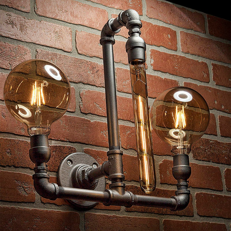 steampunk bathroom fixtures pipe light lighting pipe sconce light steampunk 14556