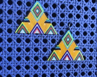 Tribal Earrings Boho earrings native american style earrings geometric earrings byrning man earrings festival earrings