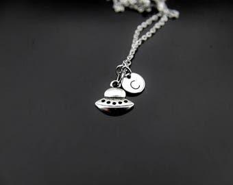 Silver Spaceship Charm Necklace Spaceship Charm Spaceship Jewelry Alien Necklace Alien UFO Charm UFO Alien Jewelry Personalized Necklace