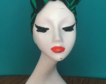 Palm print turban bow / headwrap