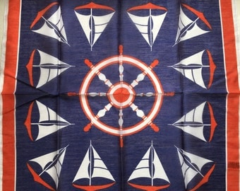 Pure Vintage Scarf with Nautical Design - Unused and Perfect from 1970s Stock