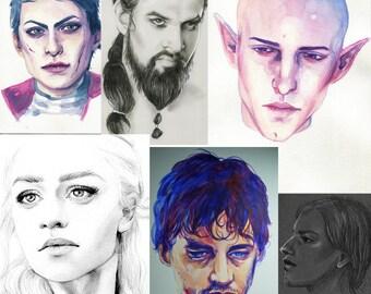 PORTRAIT COMMISSIONS - portraits in various mediums - custom art