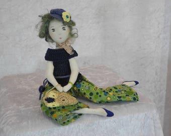 Rag doll, rag doll, Mini doll, heirloom doll, Handmade Doll, artist Doll, Art Doll, Ooak art doll handmade 70's, Sam,