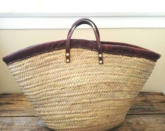 Vintage french straw large market bag
