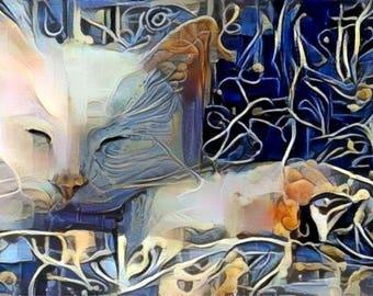 ATC ACEO Penelope White Cat Kitty Digital Art Card