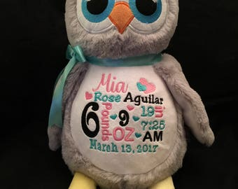 birth announcement stuffed animal, baby announcement plush animal, personalized stuffed animal baby gift, monogrammed Little Elska owl