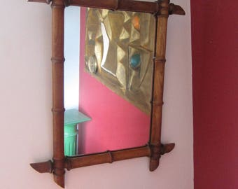 19th Century French Cherry Wood Faux Bamboo wall mirror