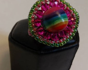 Rainbow Ring beaded in Wreath of Greens & Pinks