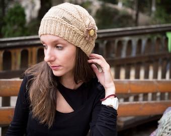 Knitted Beanie, Knitted Hat,  Handmade Beanie, Handmade Hat, Woman Beanie, Woman Hat, Beanie with Flower, Elegant Beanie, Elegant Hat