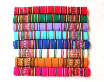 SALE 15% OFF* Genuine Aguayo Bolivian Peruvian fabric 46''x46'' (117x117 cm.) Tribal Ethnic Stripy woven textile, blanket. any use