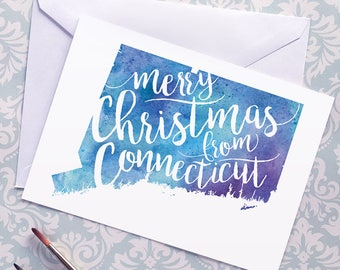 Connecticut Map Christmas Card, CT Watercolor Greeting Card, Merry Christmas from Connecticut Lettering, Gift, Postcard, Map Art Card, Print