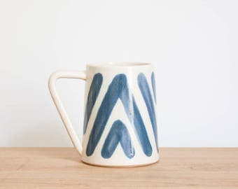 Blue & White Boho Ceramic Coffee Mug by Barombi Studios