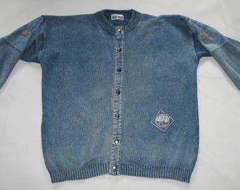 Vintage CARDIGAN men SWEATER Willis pure indigo cotton blue jeans JUMPER 1980s