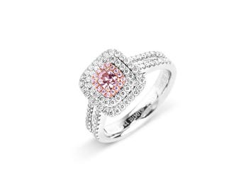Cushion Cut Pink Diamond Halo 18K White Gold Engagement Ring Art Deco Natural Diamond Ring Custom Gold Jewelry anniversary gift, gold ring