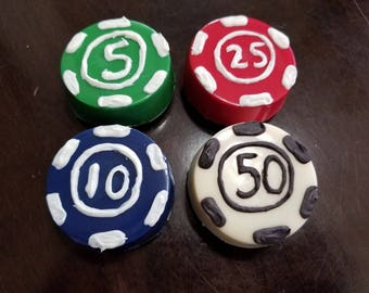 Poker Chips chocolate covered cookies