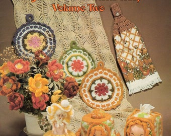 FREE US SHIP Vintage 1980's Crochet Doll Book Crocheted Favorites Originals Jessie Abularach Volume 2 1980  Dolls Tissue Box Paper Cover