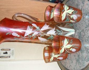 Fenton Carnival Glass ''FREESIA'' Five Piece Water Set - Vintage Art Glass - Iridized Glass(167)